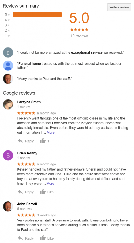 Google Reviews Example Page